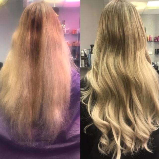 Before and after using Great Lengths Hair Extensions. Hair is fuller and thicker on the ends.
