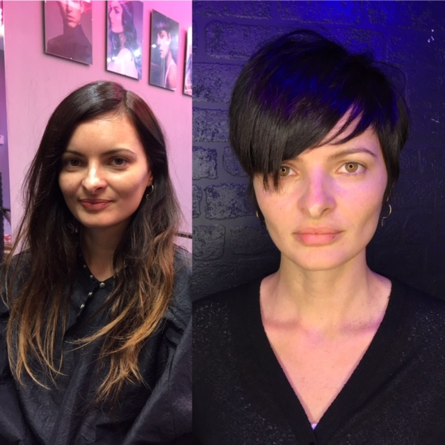 This picture shows a client with long, tired looking hair, then an after picture with a cute pixie crop and darker colour to really bring out the shine!